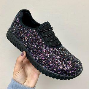 Black multi glitter sneaker
